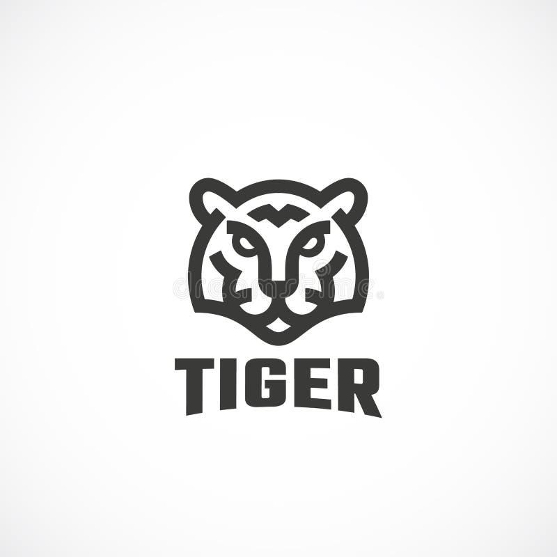 Ligne style simple Tiger Face Abstract Vector Icon, symbole ou Logo Template Tête animale sauvage Sillhouette avec moderne illustration de vecteur