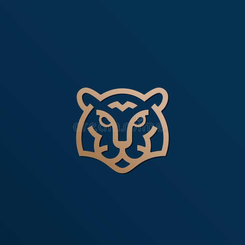 Ligne style Tiger Face Abstract Vector Icon d'or, symbole ou Logo Template T?te animale sauvage Sillhouette avec moderne illustration stock