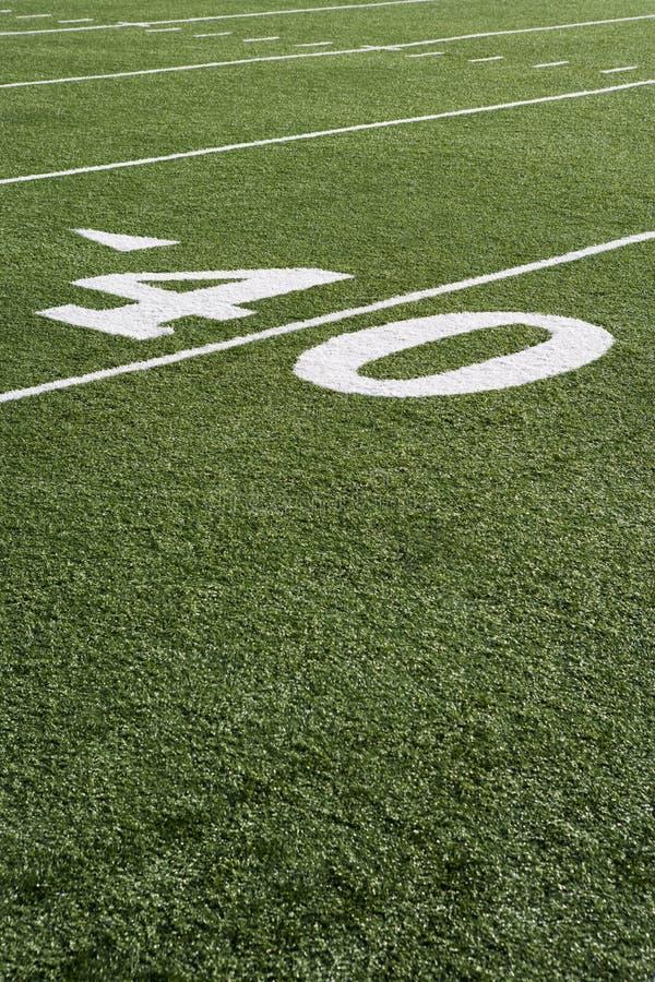 Ligne 40 sur le champ de football américain photo stock