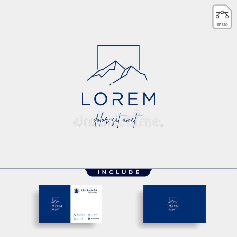 Ligne symbole de Logo Vector de montagne de paysage de conception illustration libre de droits