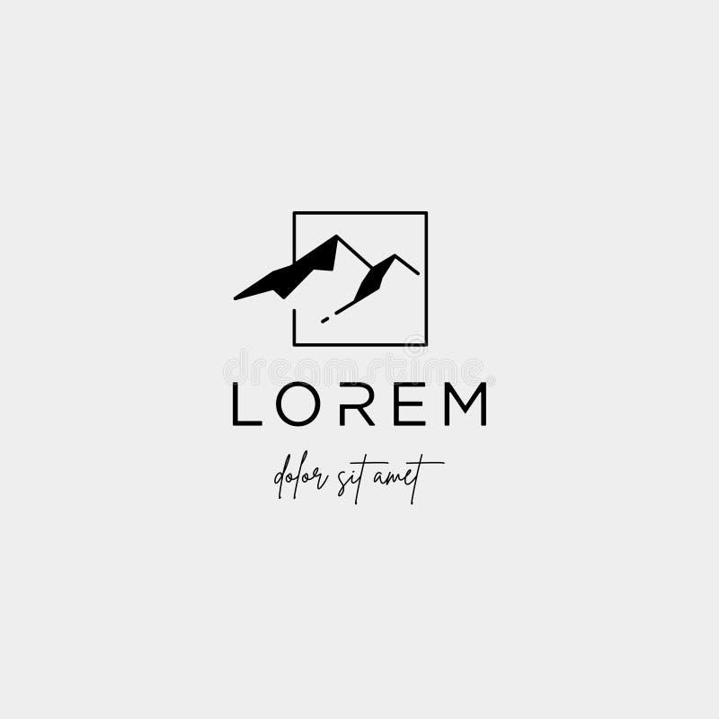 Ligne symbole de Logo Vector de montagne de paysage de conception illustration de vecteur