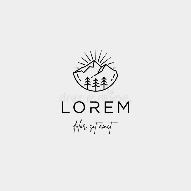 Ligne symbole de Logo Vector de montagne de paysage de conception illustration stock