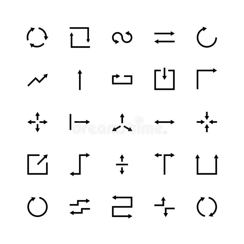 Ligne symboles de commercialisation sociaux d'appli de site Web de flèche d'ensemble d'icônes de silhouette de flèche de vecteur  illustration libre de droits