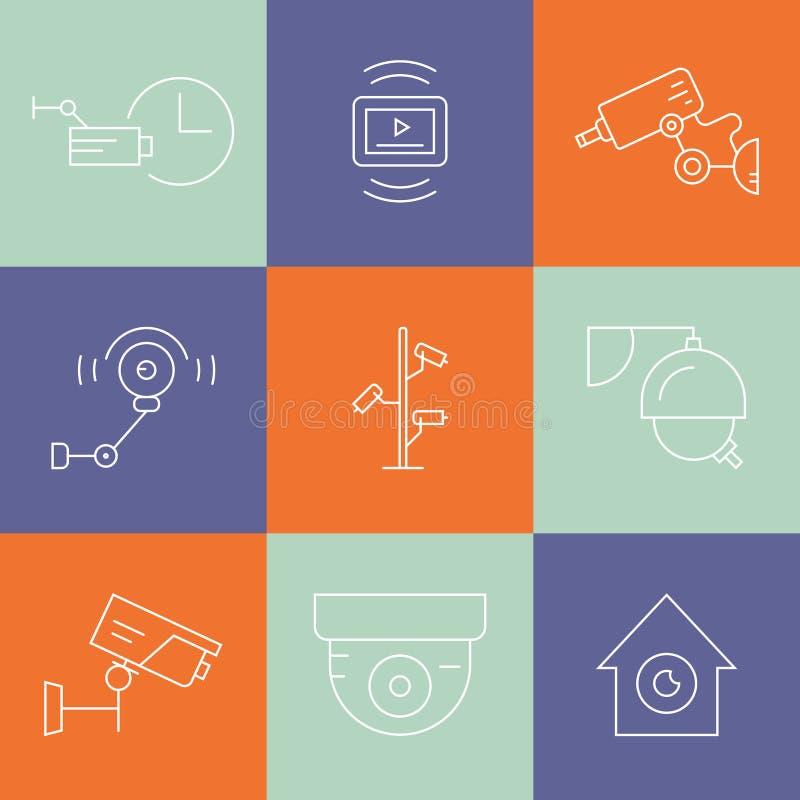 Ligne symboles de télévision en circuit fermé illustration stock
