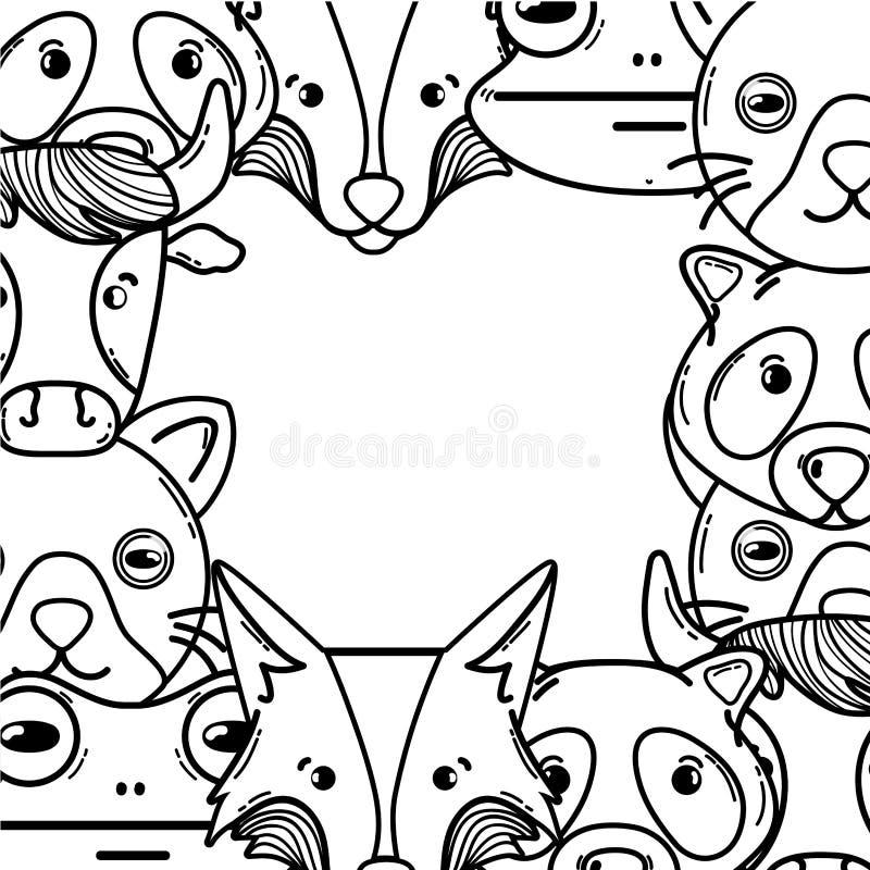 Ligne têtes mignonnes du fond d'animaux de région sauvage illustration stock