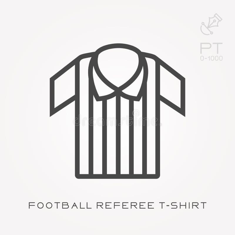 Ligne T-shirt d'arbitre du football d'ic?ne illustration de vecteur