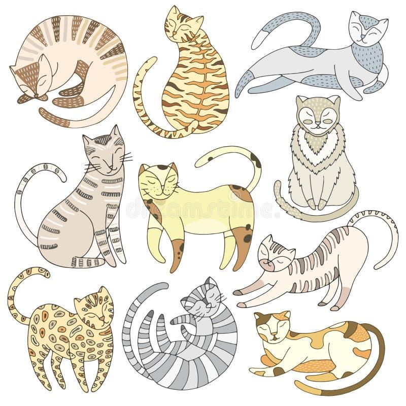 Ligne tirée par la main ensemble de chat illustration libre de droits