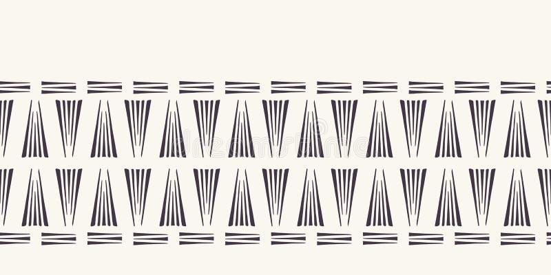 Ligne tirée par la main géométrique moderne frontière de triangles Répétition de l'équilibre linéaire simple de ruban Style ornem illustration stock