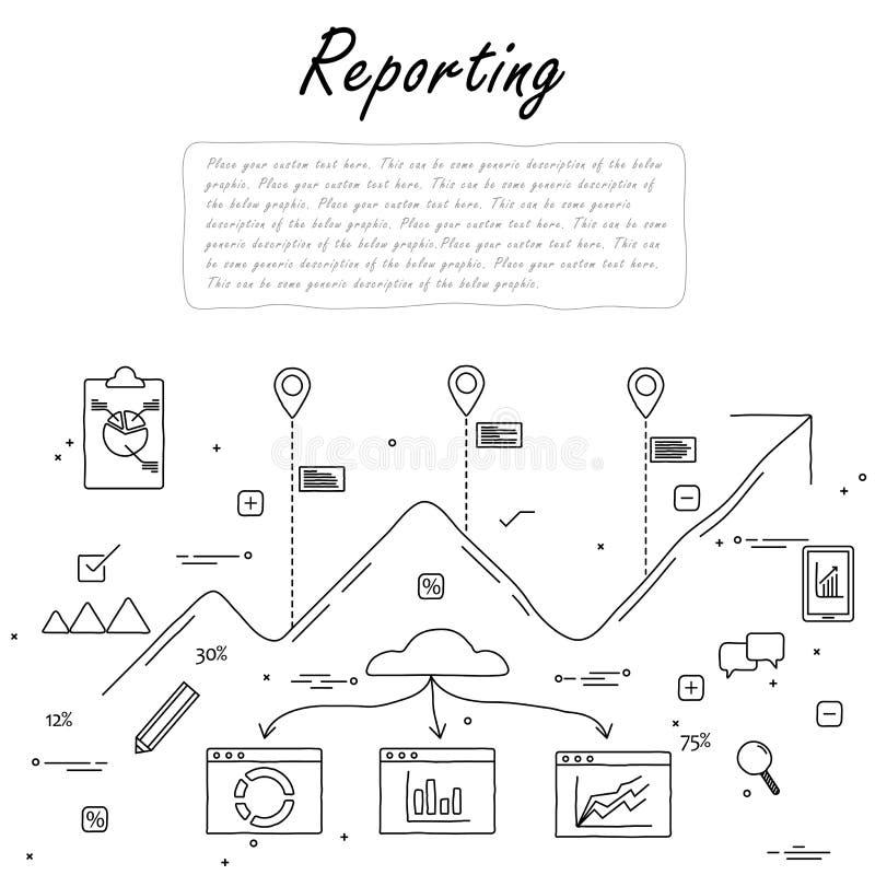 Ligne tirée par la main griffonnage de vecteur de concept du reportage et des statis illustration de vecteur