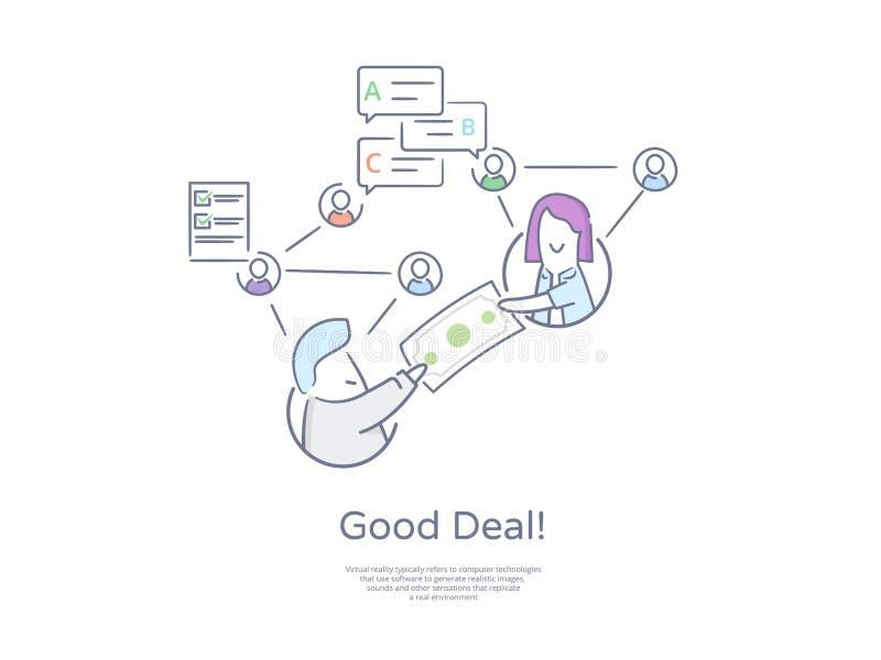 Ligne tirée par la main icône et concept de qualité de la meilleure qualité réglés : Affaire d'acquisition d'affaires Réseaux soc illustration de vecteur
