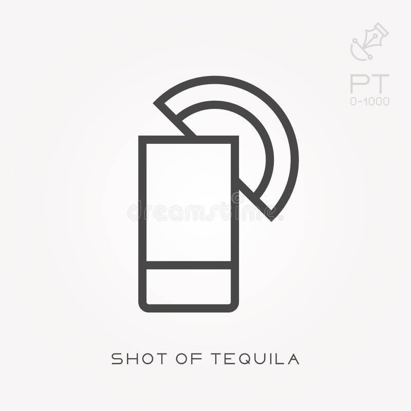 Ligne tir d'ic?ne de tequila illustration libre de droits