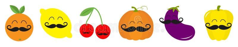 Ligne v?g?tale d'ensemble d'ic?ne de visage de moustache de baie de fruit Poivre, aubergine, cerise de potiron, citron, orange Ca illustration stock