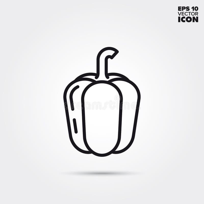 Ligne végétale icône de vecteur de paprika illustration stock