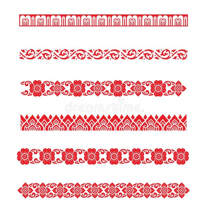 Ligne vecteur asiatique de conception d'art traditionnel de modèle, conception traditionnelle thaïlandaise (modèle de Lai Thai) illustration stock