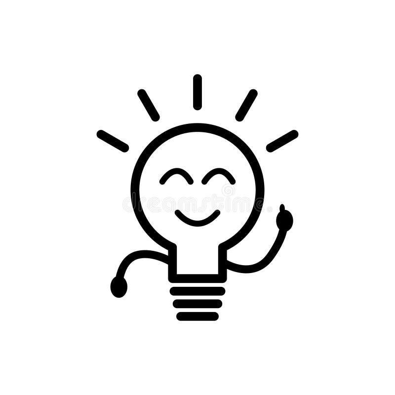 Ligne vecteur d'ampoule d'ic?ne d'isolement sur le fond blanc Signe d'id?e, solution, concept de pens?e Allumage de la lampe ?lec illustration de vecteur