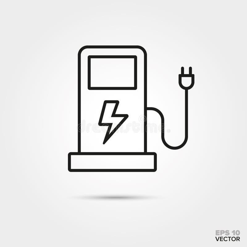 Ligne vecteur de chargeur de voiture électrique d'icône illustration libre de droits