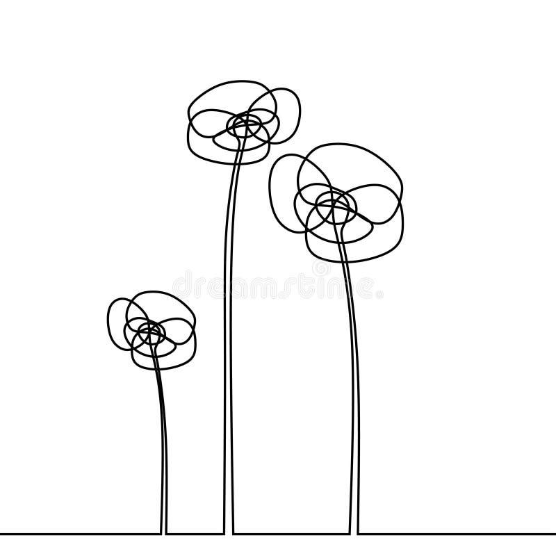 Ligne vecteur de dessin continu de la fleur une d'illustration d'isolement sur le style blanc de minimalisme de fond illustration de vecteur