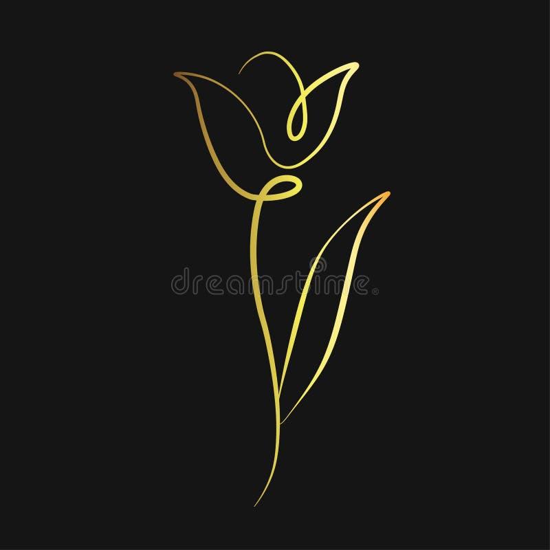 Ligne vecteur de fleur de tulipe d'impression illustration libre de droits