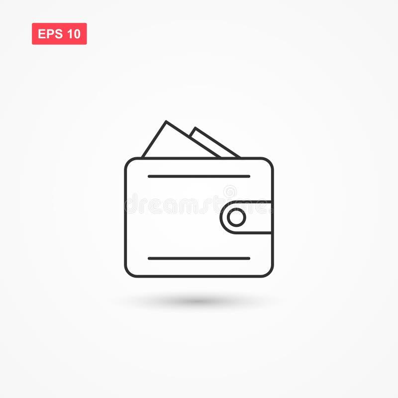 Ligne vecteur 1 de portefeuille d'icône illustration stock