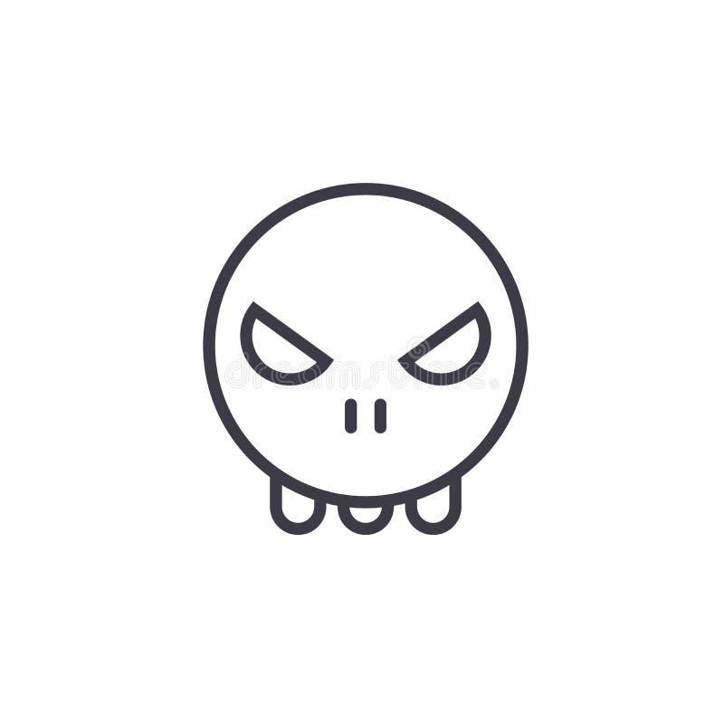 Ligne vecteur editable, icône de concept de Ghost Emoji de concept Illustration linéaire d'émotion de concept de Ghost Emoji illustration de vecteur