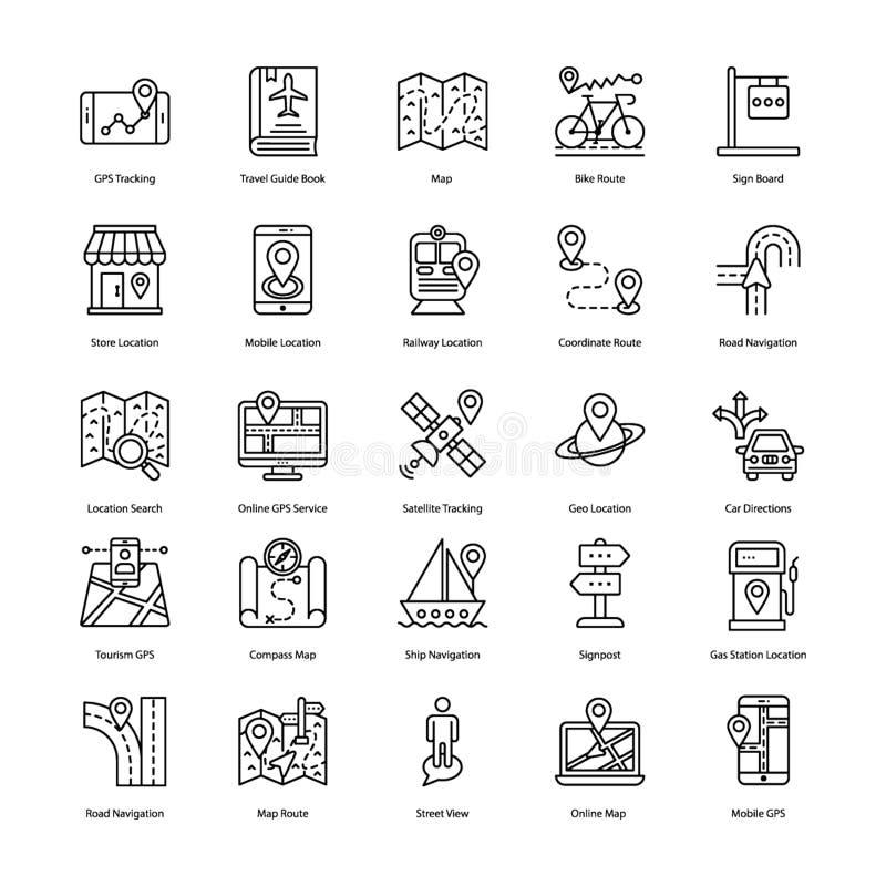 Ligne vecteurs d'emplacement de carte illustration stock