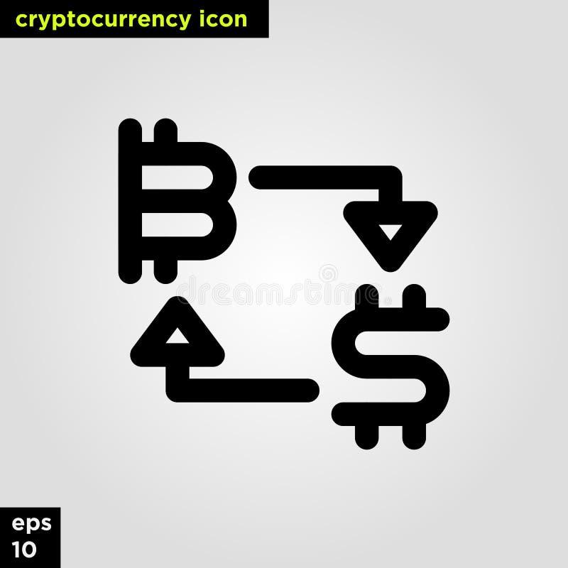 Ligne version d'ensemble d'échange d'icône de Cryptocurrency Signe et symbole modernes de technologie de réseau informatique images libres de droits