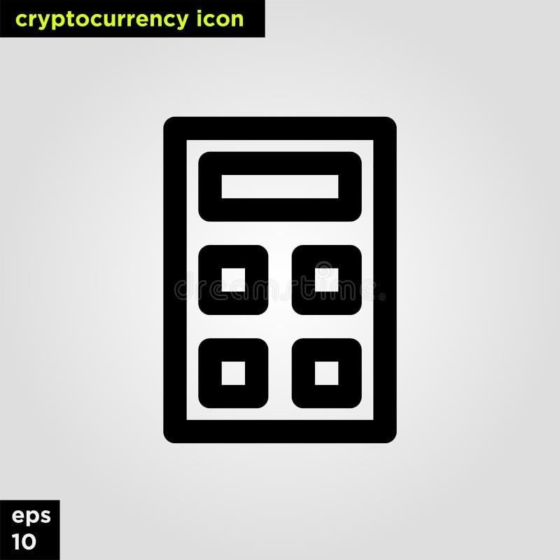 Ligne version d'ensemble de calculatrice d'icône de Cryptocurrency Signe et symbole modernes de technologie de réseau informatiqu photos libres de droits