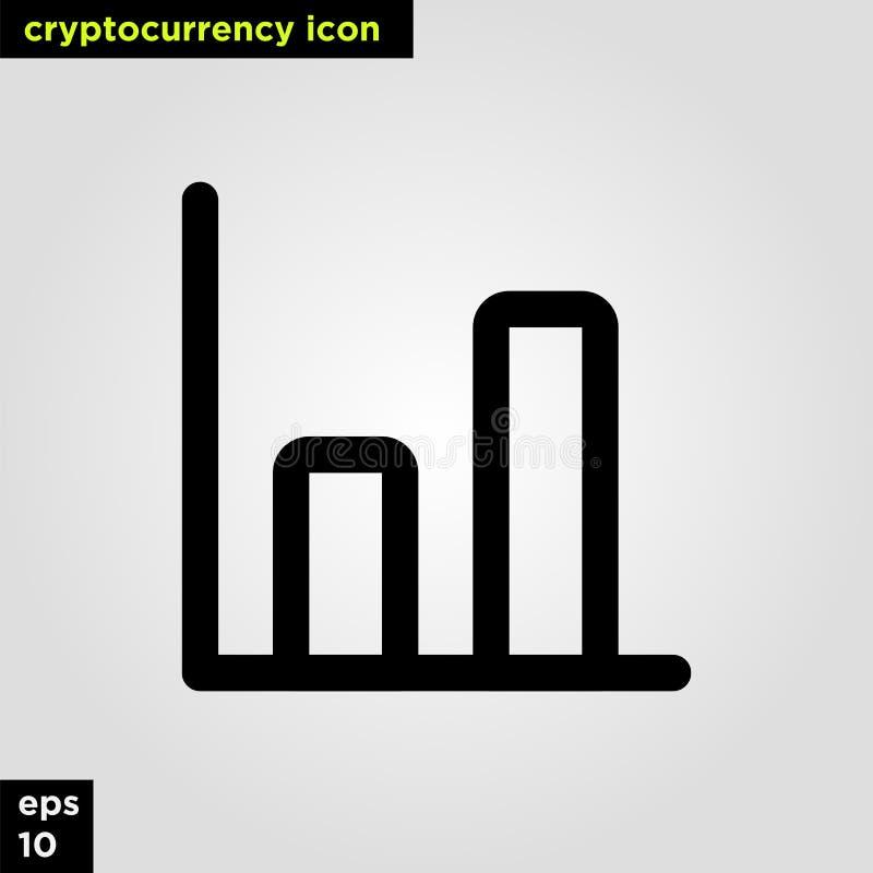 Ligne version d'ensemble de graphique d'icône de Cryptocurrency Signe et symbole modernes de technologie de réseau informatique image stock