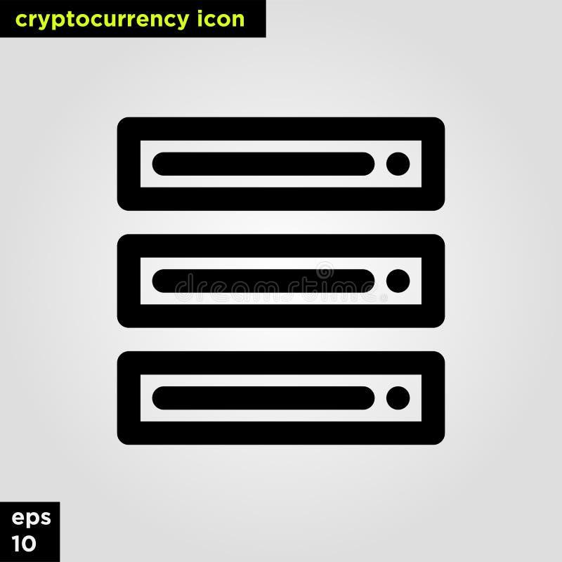 Ligne version d'ensemble de serveur d'icône de Cryptocurrency Signe et symbole modernes de technologie de réseau informatique image stock