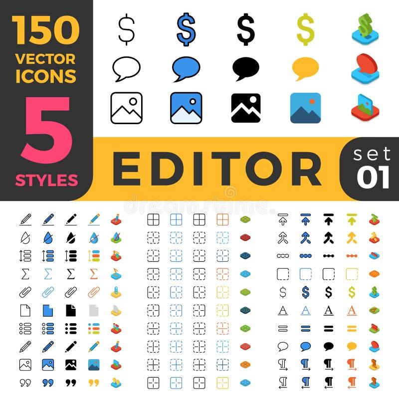 Ligne Web mobile à plat isométrique du rédacteur de graphiques 150 illustration stock