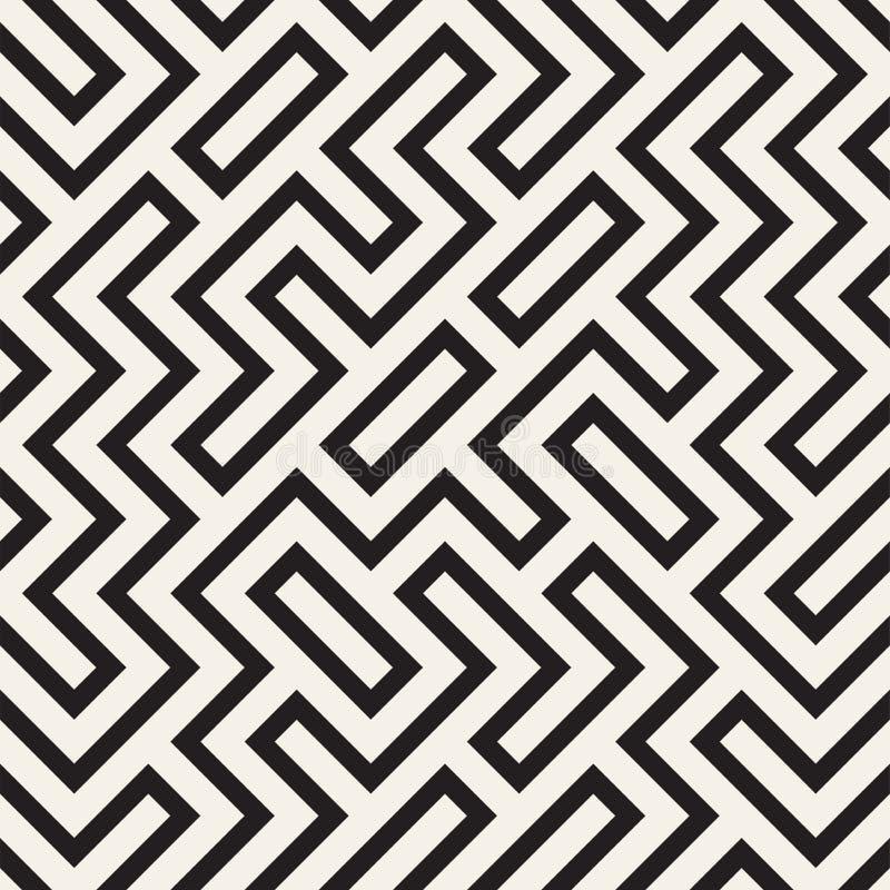 Lignes élégantes trellis Texture monochrome ethnique Conception géométrique abstraite de fond Dirigez la configuration sans joint illustration libre de droits