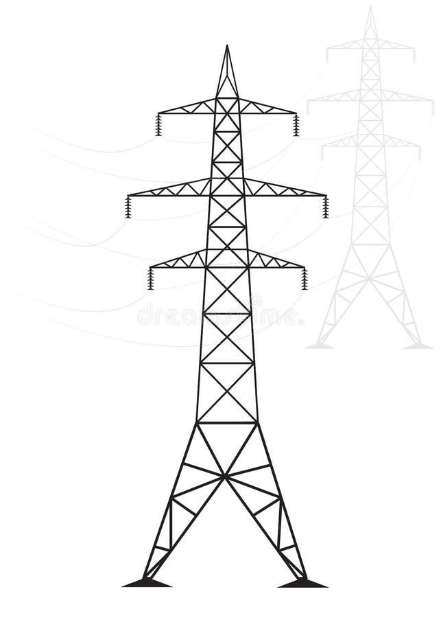 Lignes électriques à haute tension de silhouette sur un fond clair illustration libre de droits