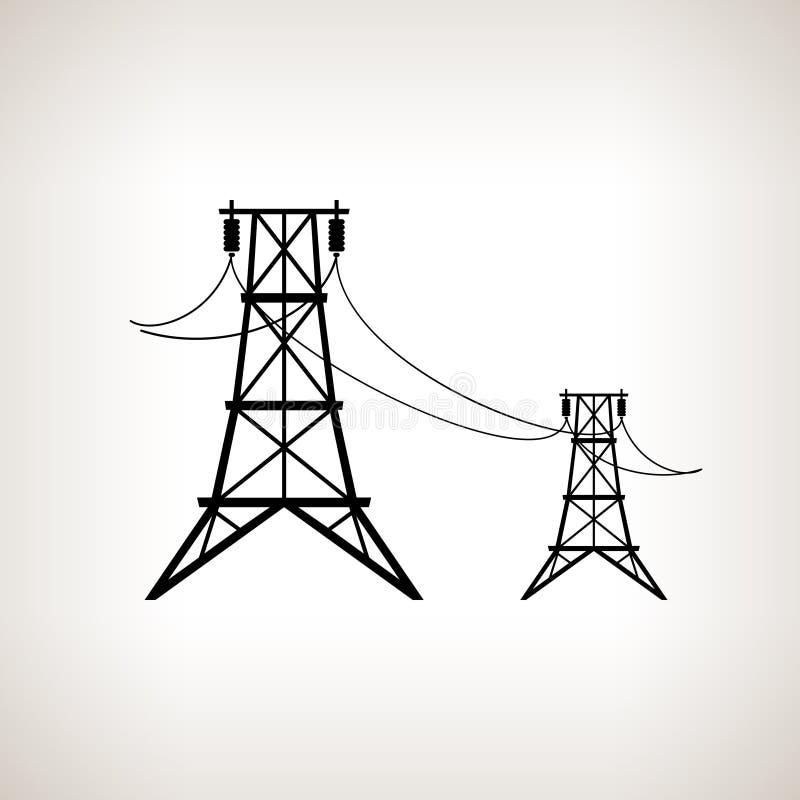 Lignes électriques de haute tension de silhouette illustration libre de droits