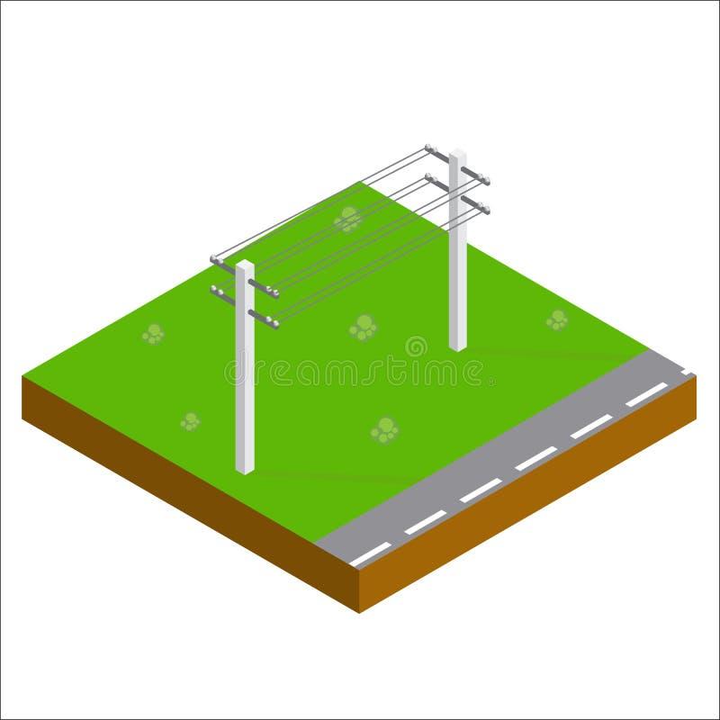 Lignes électriques de soutien isométriques Vecteur illustration libre de droits