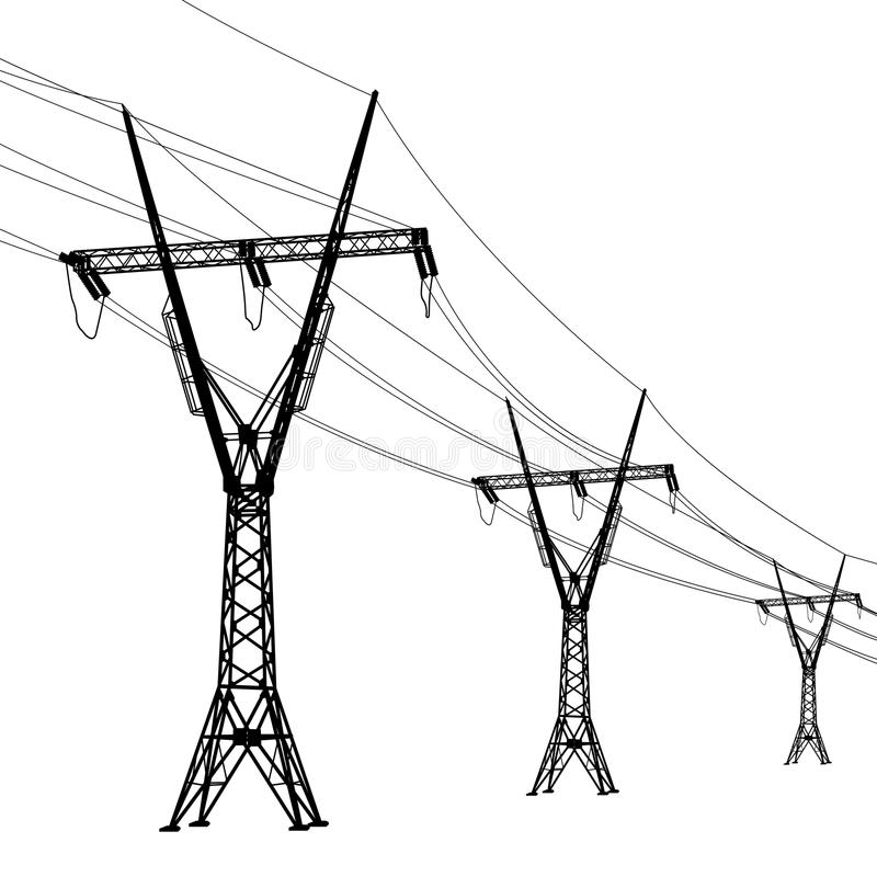 lignes électriques de tension illustration stock