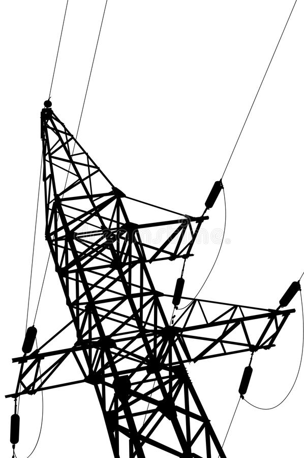 Lignes électriques et pylône à haute tension illustration de vecteur