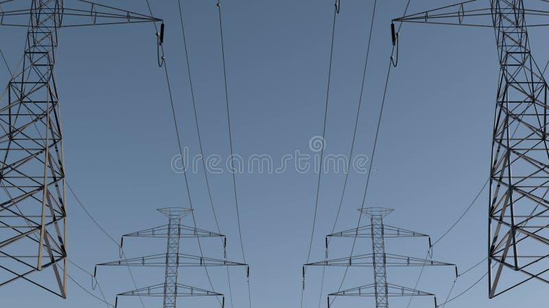 Lignes électriques Et Pylônes électriques Sous Le Ciel Conception D économies D énergie