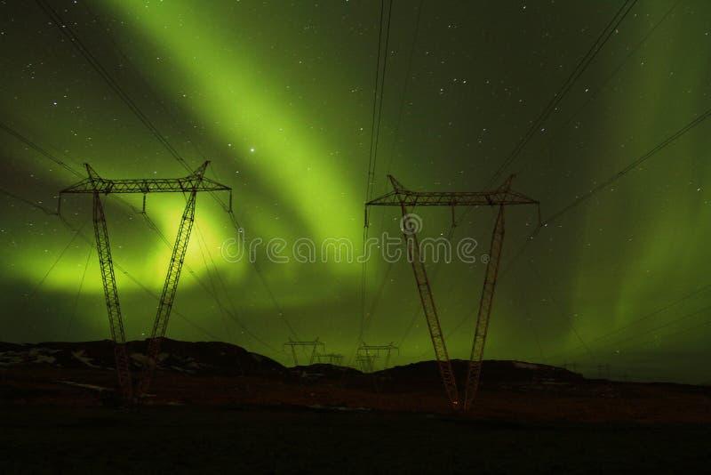 Puissance aux lumières du nord images libres de droits