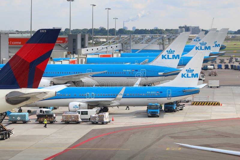 Lignes aériennes de KLM images libres de droits
