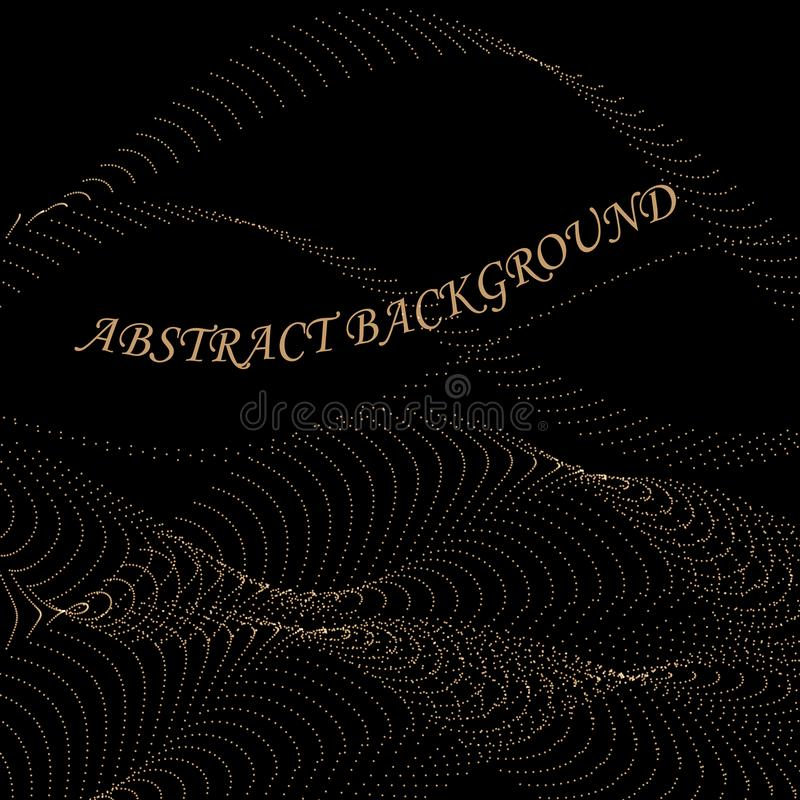 Lignes abstraites d'écoulement de scintillement d'or d'isolement sur le fond noir, illustration de vecteur illustration libre de droits