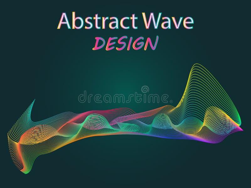 Lignes abstraites de vague coloré onduleux pour le concept de construction de brochure et de site Web sur le fond vert-foncé illustration stock
