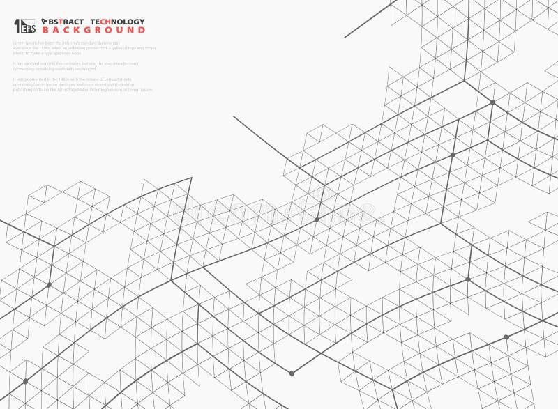 Lignes abstraites fond d'hexagone de maille de couverture de décoration de conception de technologie de structure Vecteur eps10 d illustration libre de droits