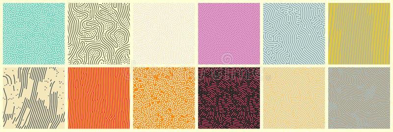 Lignes abstraites motifs transparents, ensemble d'arrière-plans de transition vectoriels modernes Modèles organiques avec points  illustration stock