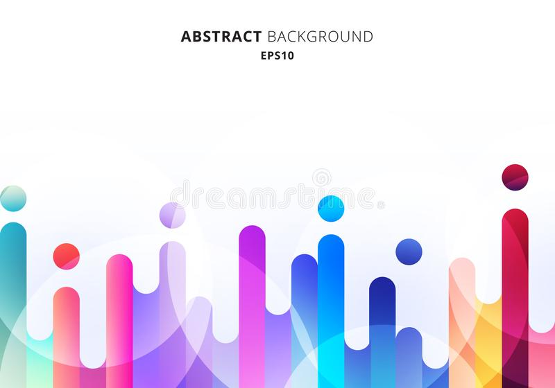 Lignes arrondies et colorées abstraites éléments de transition sur fond blanc avec cercles de boukeh illustration stock