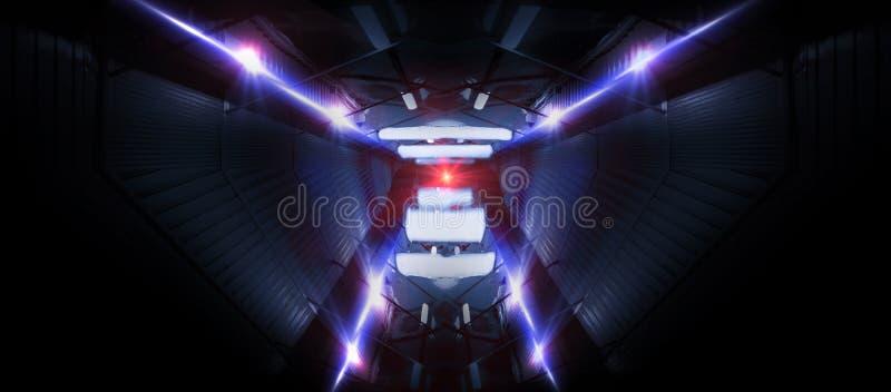 Lignes au néon sur un fond foncé Le fond de l'espace, lumières espacent des unités Fond au néon abstrait, tunnels cosmiques photo stock
