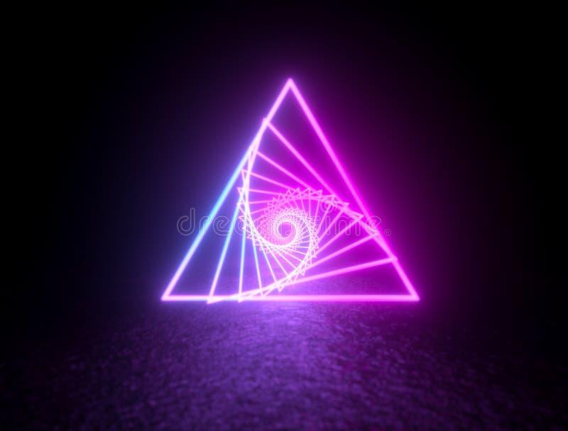 Lignes au n?on vibrantes rougeoyantes de triangle illustration de vecteur