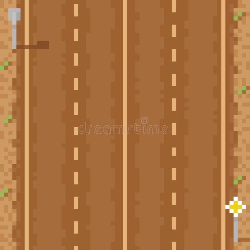 Lignes bi-directionnelles vides et signes de la route directe six illustration de vecteur