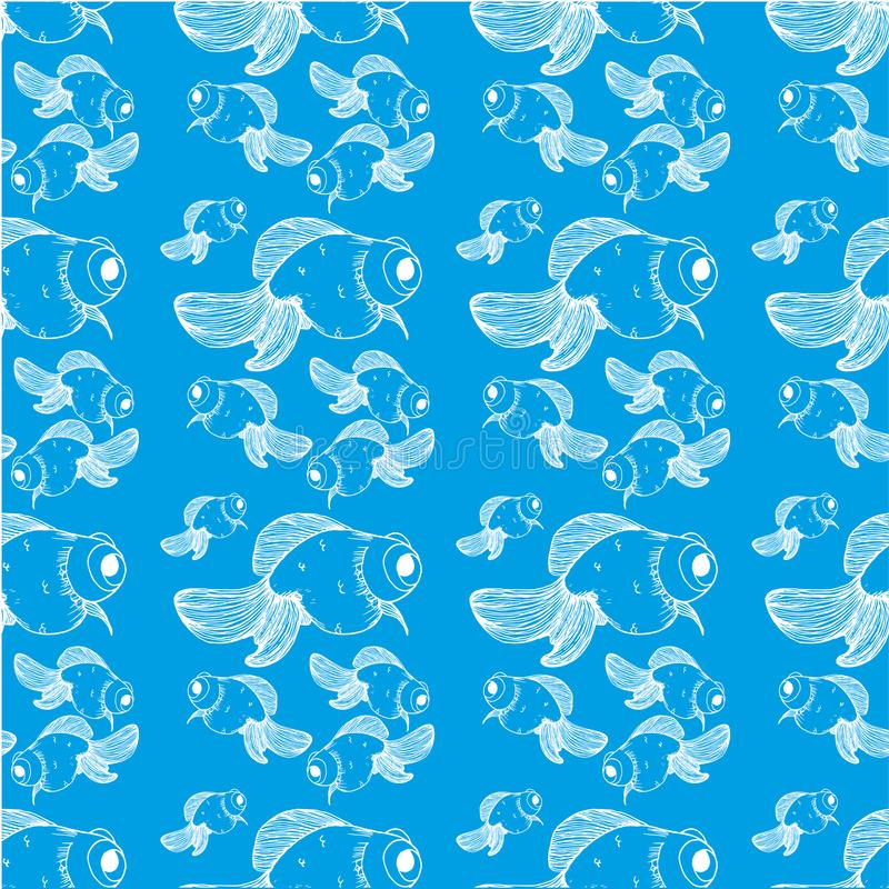Lignes blanches de modèle de poisson rouge sur un fond bleu illustration de vecteur