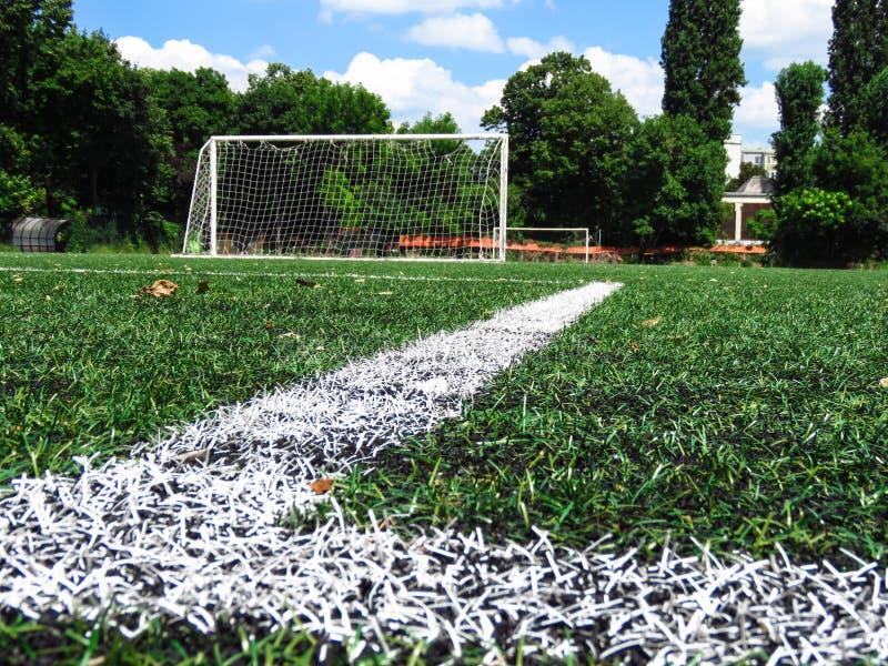 Lignes blanches sur le gazon de lancement du football photographie stock libre de droits