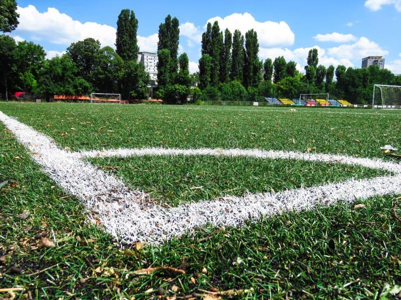 Lignes blanches sur le gazon de lancement du football photo libre de droits